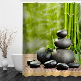 Green Bamboos and Black Stones Polyester Waterproof and Eco-friendly 3D Shower Curtain