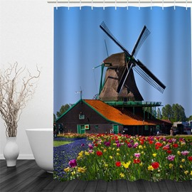 Windmill and Plants Pattern Polyester Waterproof and Eco-friendly 3D Shower Curtain