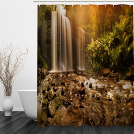 Waterfall and Sunshine Polyester Waterproof and Eco-friendly 3D Shower Curtain