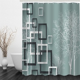 Photo Frames and Tree Pattern Polyester Waterproof and Eco-friendly 3D Shower Curtain