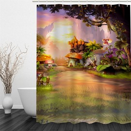 Forest and Mushrooms Polyester Waterproof and Eco-friendly 3D Shower Curtain
