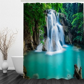 Green Forest and Waterfall Polyester Waterproof and Eco-friendly 3D Shower Curtain