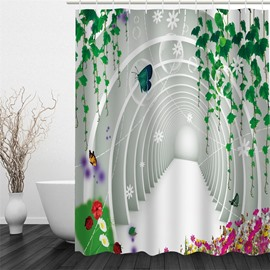3D Green Plants Polyester Waterproof and Eco-friendly White Shower Curtain