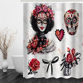 Girl with Flowers and Skull Polyester Waterproof and Eco-friendly 3D Shower Curtain