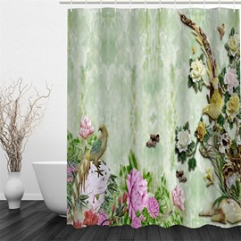 Birds and Flowers Polyester Waterproof and Eco-friendly 3D Shower Curtain