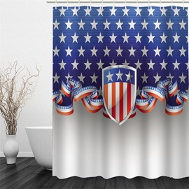 3D Blue Background with Five-Pointed Stars Polyester Waterproof and Eco-friendly Shower Curtain