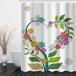 White Background with Heart-shaped Flowers Polyester Waterproof and Eco-friendly 3D Shower Curtain