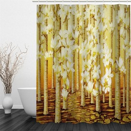 Trees and Flowers Yellow Polyester Waterproof and Eco-friendly 3D Shower Curtain