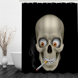 3D Skull with A Cigarette Polyester Waterproof and Eco-friendly Black Shower Curtain