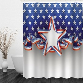 3D Five-Pointed Stars Pattern Polyester Waterproof and Eco-friendly Shower Curtain