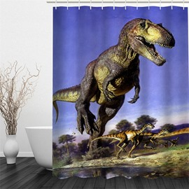 3D Dinosaurs in Blue Sky Pattern Polyester Waterproof and Eco-friendly Shower Curtain