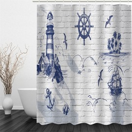 3D White Background with Blue House Pattern Polyester Waterproof and Eco-friendly Shower Curtain