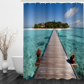 3D Wooden Bridge over Green Sea Polyester Waterproof and Eco-friendly Shower Curtain