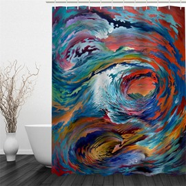 3D Oil Painting Pattern Polyester Waterproof and Eco-friendly Shower Curtain