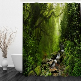 3D Stream Flowing in Forest Pattern Polyester Waterproof and Eco-friendly 3D Shower Curtain