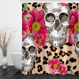 3D Flowers and Skulls Pattern 3D Polyester Waterproof and Eco-friendly Shower Curtain