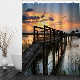 Wooden Bridge over River in Dusk 3D Polyester Waterproof and Eco-friendly Shower Curtain