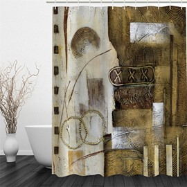 3D Brown Art Work Pattern Polyester Waterproof and Eco-friendly Shower Curtain