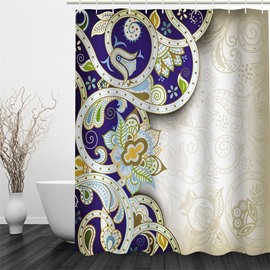 3D Colorful Floral Pattern Polyester Waterproof and Eco-friendly Shower Curtain