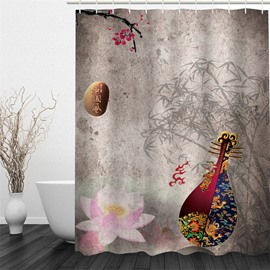 3D Chinese Pipa and Bamboos Pattern Polyester Waterproof and Eco-friendly Shower Curtain