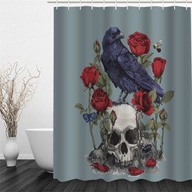 3D Skull China Rose and Crow Polyester Waterproof and Eco-friendly Shower Curtain