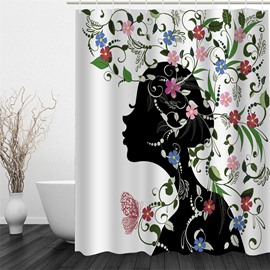 Black Girl Painting with Flowers 3D Polyester Waterproof and Eco-friendly Shower Curtain