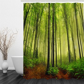 Green Forest 3D Polyester Waterproof and Eco-friendly Shower Curtain