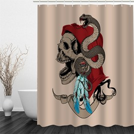 3D Skull in Red Scarf and Snake Polyester Waterproof and Eco-friendly Shower Curtain