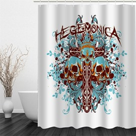 3D Flowers and Skulls Printed Polyester Waterproof and Eco-friendly White Shower Curtain