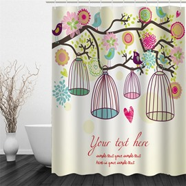 3D Colorful Flowers and Cages on Branches Polyester Waterproof and Eco-friendly Shower Curtain