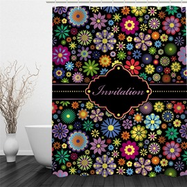 3D Flowers Polyester Waterproof and Eco-friendly Black Shower Curtain