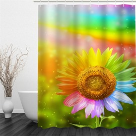 Sunflower Pattern Polyester Waterproof and Eco-friendly 3D Shower Curtain