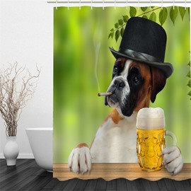 Smoking Dog in Hat and Beer Polyester Waterproof and Eco-friendly 3D Shower Curtain