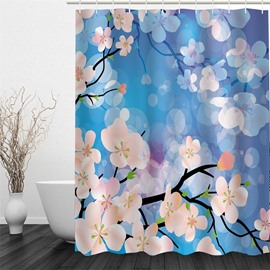 3D Blue Background with Peach Flowers Printed Polyester Waterproof and Eco-friendly Shower Curtain