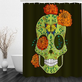 Skull Outline Embellished by Plants Polyester Waterproof and Eco-friendly 3D Black Shower Curtain