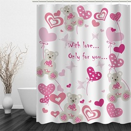 3D Bears and Heart-Shapes Polyester Waterproof and Eco-friendly Shower Curtain