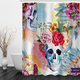 Flowers and Skulls Pattern Polyester Waterproof and Eco-friendly 3D Shower Curtain