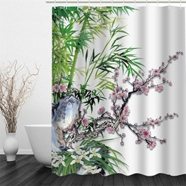 3D Bamboos and Flowers Pattern Polyester Waterproof and Eco-friendly Shower Curtain