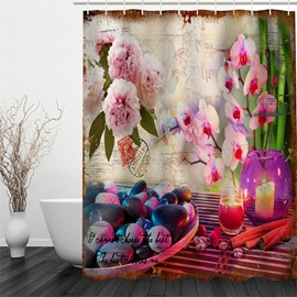 3D Flowers Stones and Candle Pattern Polyester Waterproof and Eco-friendly Shower Curtain