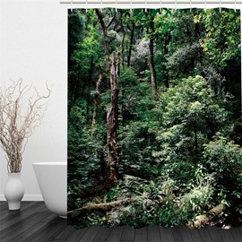 3D Green Forest Polyester Waterproof and Eco-friendly Shower Curtain
