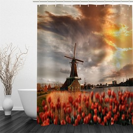 3D Windmill and Flowers Polyester Waterproof and Eco-friendly Shower Curtain