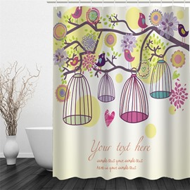 3D Branches with Cages and Flowers Polyester Waterproof and Eco-friendly Shower Curtain