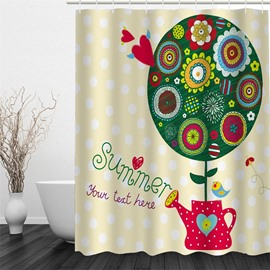 3D Red Watering Pot and Plants Polyester Waterproof and Eco-friendly Shower Curtain