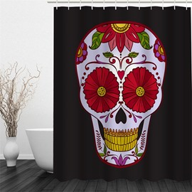 Flower Skull Pattern Polyester Waterproof and Eco-friendly 3D Black Shower Curtain