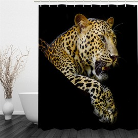 Leopard Pattern Polyester Waterproof and Eco-friendly 3D Black Shower Curtain