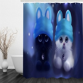Cats in Blue Hats Polyester Waterproof and Eco-friendly 3D Shower Curtain