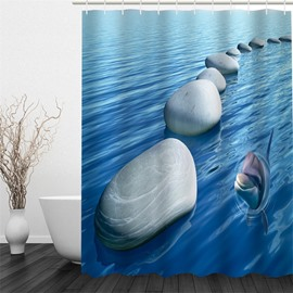 3D Dolphin and Stones in Blue Sea Pattern Polyester Waterproof Eco-friendly Shower Curtain