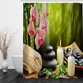 3D Igniting Candles Stones Flowers and Towel Polyester Waterproof and Eco-friendly Shower Curtain