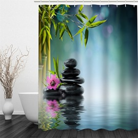 3D Bamboos and Stones Polyester Waterproof and Eco-friendly Shower Curtain