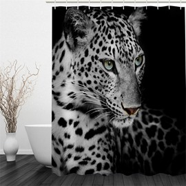 3D Leopard Printed Polyester Waterproof and Eco-friendly Black Shower Curtain